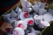 Petals in petal cones, for guests to throw at the ceremony's conclusion