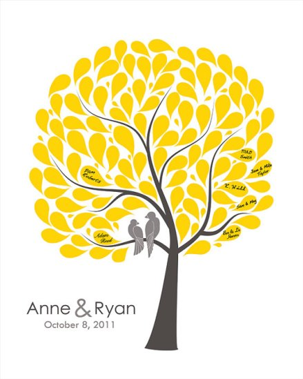 Alternative to a guest book - a guest tree poster! By fancyprints on etsy.com