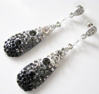 Black and white crystal earrings, by weddingswithflair on etsy.com