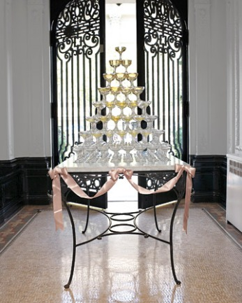 Champagne glass tower, from marthastewartweddings.com
