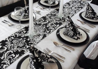Damask table runner, by exclusiveelements on etsy.com
