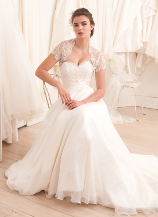 Sweetheart wedding gown with beaded lace jacket – French Bridal collection