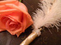 Feather pen, by FEATHERSnPEARLS on etsy.com