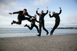 Groom and groomsmen get airborne