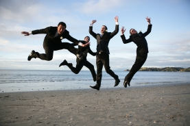 Groom and groomsmen get airborne
