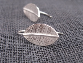 Leaf earrings, by whalebird on felt.co.nz
