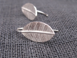 Leaf earrings, by whalebird on felt.co.nz