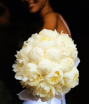 Lemon-yellow peony bouquet