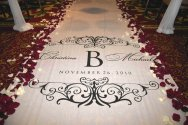 Monogram aisle runner, by StarryNightDesign on etsy.com