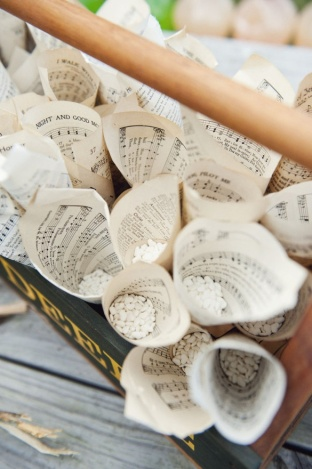 music sheets used for petal/confetti cones