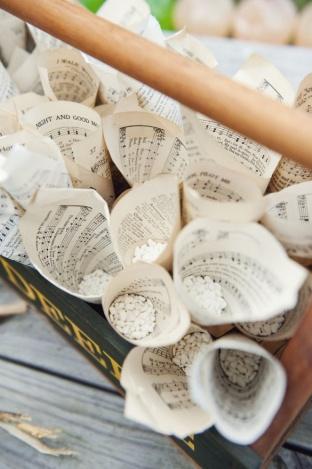 music sheets used for petal/confetti cones