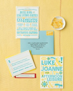 Poster-like wedding invitations suit the backyard theme (via marthastewartweddings.com)