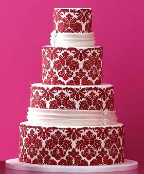 Red damask wedding cake