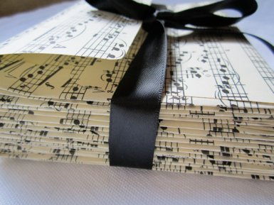 Sheet music envelopes, by MagpieandMax on etsy.com