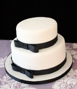 Simple, yet elegant, black and white cake