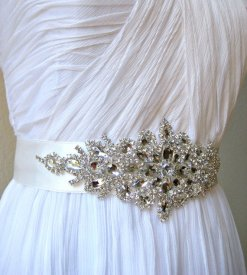 Wedding dress belt, by IngenueB on etsy.com