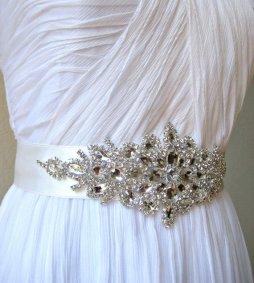 Wedding dress belt, by IngenueB on etsy.com