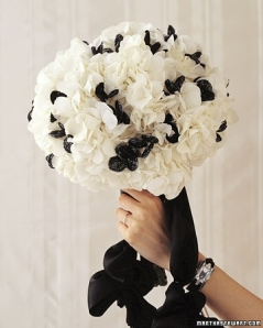 White hydrangeas with black beads