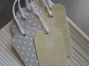 Yellow and grey place-tags, by nshebertPaperCrafts on etsy.com