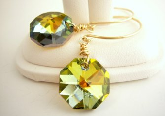 Yellow crystal earrings, by Estylo Jewelry on etsy.com