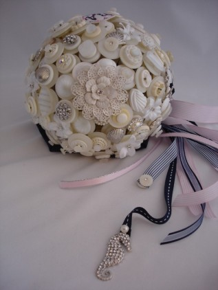 Beach wedding button bouquet by LillybudsBouquets on etsy.com