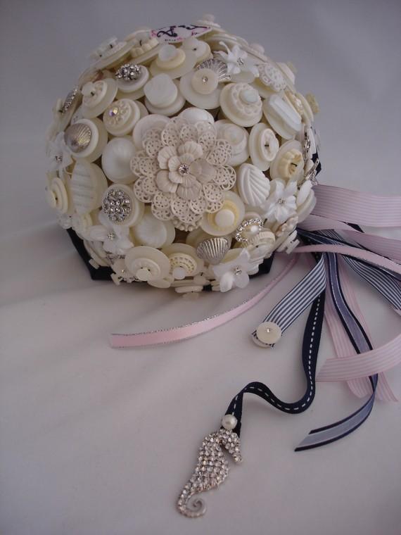 Button Bridal Bouquet Etsy : Beach wedding button bouquet by lillybudsbouquets on etsy