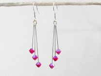 Hot pink swarovski earrings, by wendilindsay on felt.co.nz