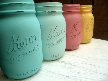 Painted mason jars, by BeachBlues on etsy.com