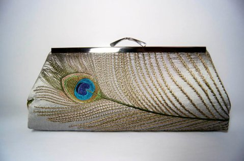 Peacock clutch purse, by JustPeacockEV on etsy.com