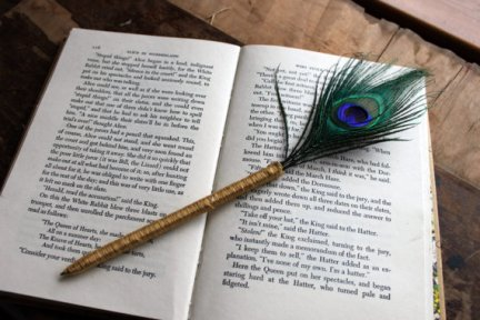 Peacock feather pen - for signing register or guestbook. By LazyLightningArt on etsy.com