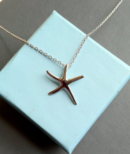 Stirling silver starfish necklace, by ceciart on etsy.com