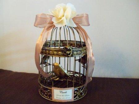 Birdcage wedding card-holder, by JumbledBrains on etsy.com