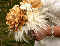 Feather and fabric bouquet, by BoutiqueInBloom on etsy.com