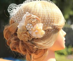 Golden birdcage veil, by Made4YouBoutique on etsy.com