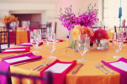 Orange and pink wedding reception