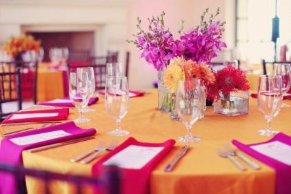 Orange and pink wedding reception