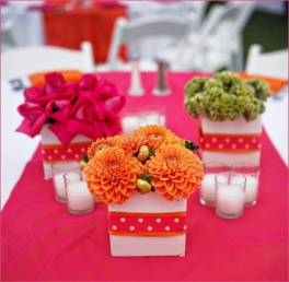 Pink and orange table flowers