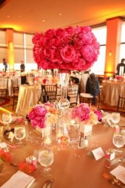 Pink and orange wedding reception