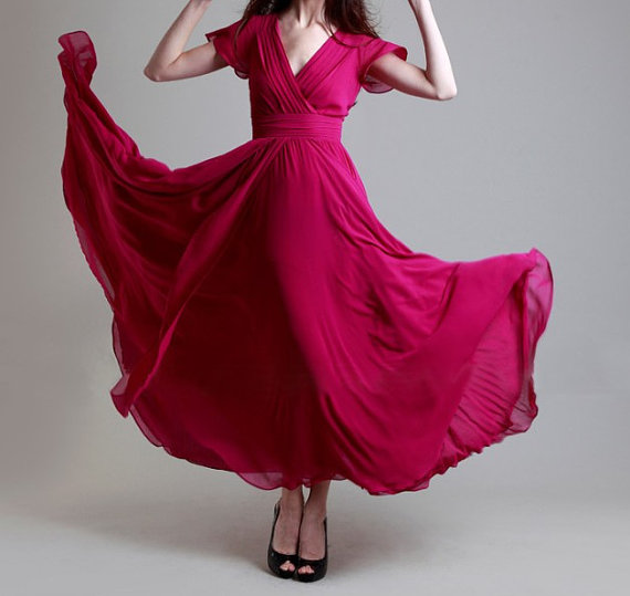 Pink bridesmaid dress by susiewear on the for Pink and orange wedding dresses