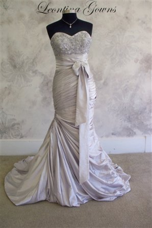 Silver mermaid wedding dress, by LeontinaCouture on etsy.com