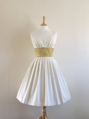 Tea-length wedding dress, by digforvictory on etsy.com