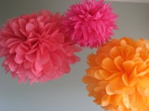 Tissue paper pompoms, by prosttothehost on etsy.com