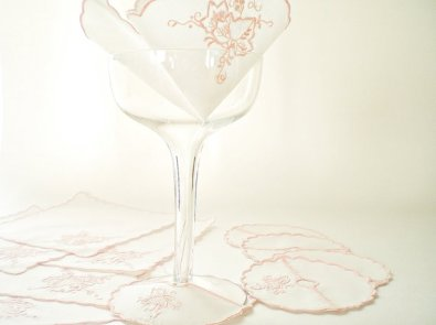 Vintage cocktail napkins and wine glass coasters, from vintagebiffann on etsy.com