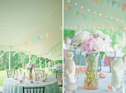 A wedding reception in pastel colours