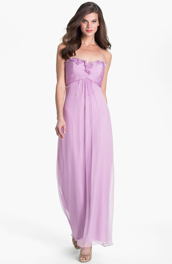 amsale ruffle trim chiffon halter gown from shop