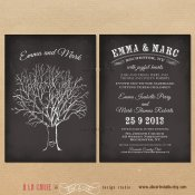 Black and white chalkboard-style invitation, by alacartestudio on etsy.com