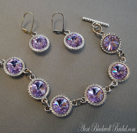 bridesmaid bracelet and earring set by