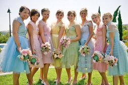 Bridesmaids in pastels