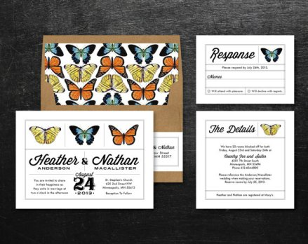 Butterfly invitation, by QuiteFetchingInvites on etsy.com