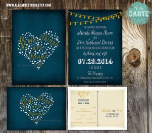 Chalkboard-style invitation, by alacartestudio on etsy.com